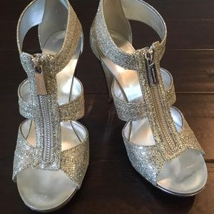Michael Kors Women's Berkley T-Strap Glitter Heels